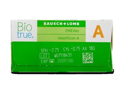 Biotrue ONEday pentru Astigmatism (30 lentile) - Parametrii lentilei
