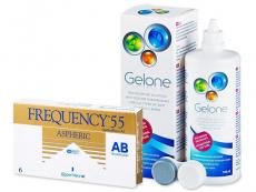 Pachete economice soluții și lentile de contact - Frequency 55 Aspheric (6lentile) +soluțieGelone360ml
