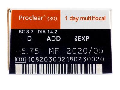 Proclear 1 Day Multifocal (30lentile) - Parametrii lentilei