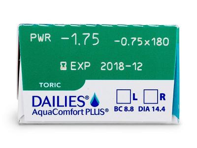 Dailies AquaComfort Plus Toric (30lentile) - Parametrii lentilei