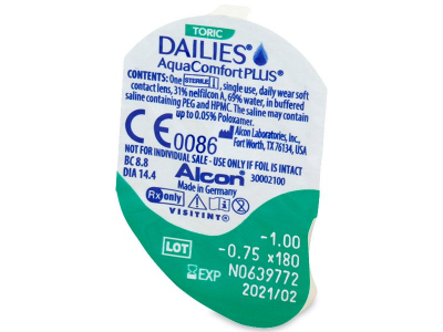 Dailies AquaComfort Plus Toric (30lentile) - Vizualizare ambalaj