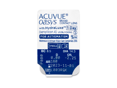 Acuvue Oasys 1-Day with HydraLuxe for Astigmatism (30 lentile) - Vizualizare ambalaj