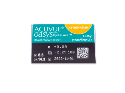 Acuvue Oasys 1-Day with HydraLuxe for Astigmatism (30 lentile) - Parametrii lentilei
