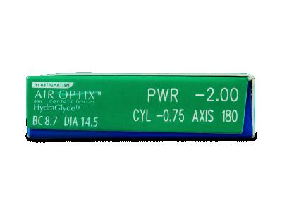 Air Optix plus HydraGlyde for Astigmatism (6 lentile) - Parametrii lentilei