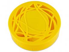 Suport lentile de contact - Casetă cu oglindă - cu ornament,  galbenă