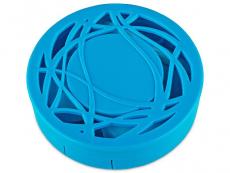 Suport lentile de contact - Casetă cu oglindă - cu ornament, albastră