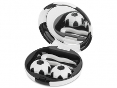 Suport lentile de contact - Casetă cu oglindă Football -  neagră