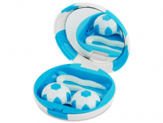 Suport lentile de contact - Casetă cu oglindă Football-albastră