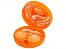 Travel kit lentile de contact - Casetă cu oglindă - cu ornament, portocalie