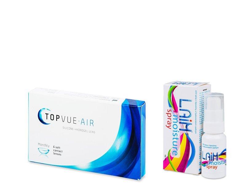 TopVue Air (6 lentile) + picături oftalmice Laim Moisture spray - Výhodný balíček