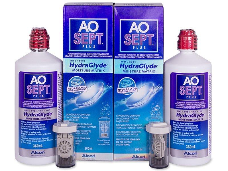 Soluție AO SEPT PLUS HydraGlyde 2x360ml  - Pachete speciale cu 2 soluții - Alcon