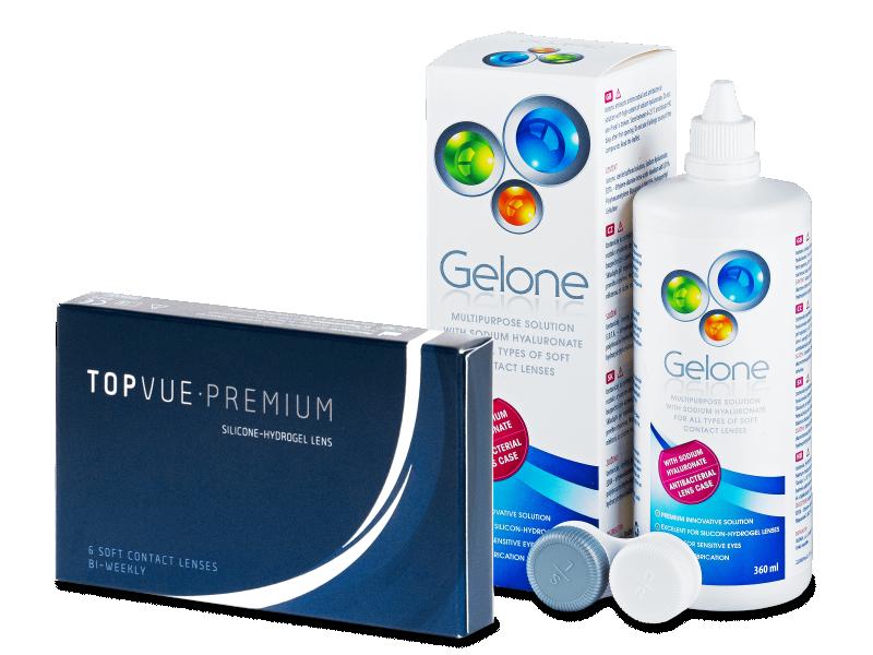 TopVue Premium (6 lentile) + soluție Gelone 360 ml - Výhodný balíček