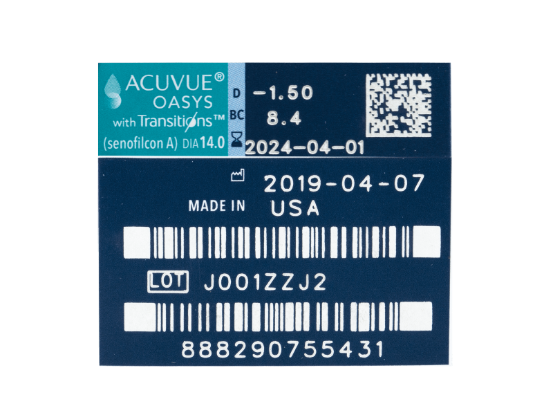 Acuvue Oasys with Transitions (6 lentile) - Parametrii lentilei