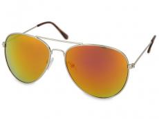 Ochelari de soare Unisex - Ochelari de soare Silver Aviator - Roz/Portocaliu