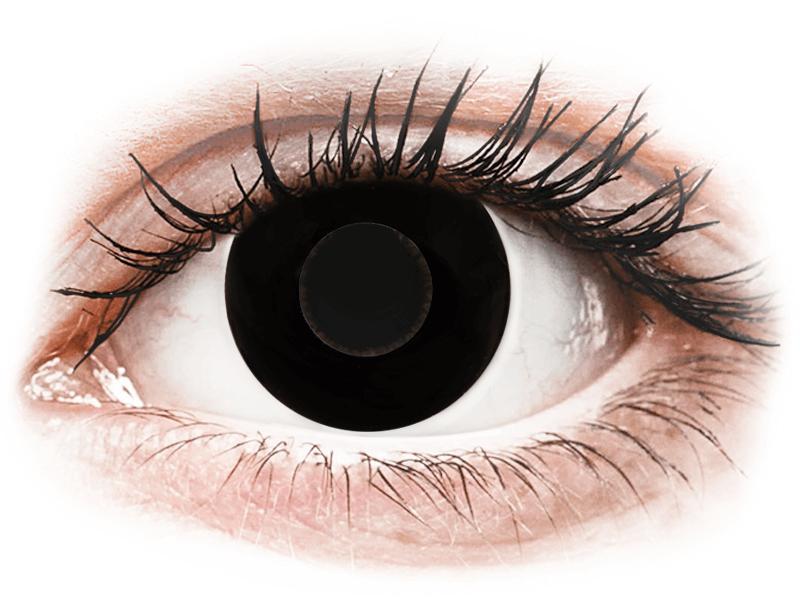 CRAZY LENS - Black Out - lentile zilnice cu dioptrie (2 lentile) - Lentile de contact colorate