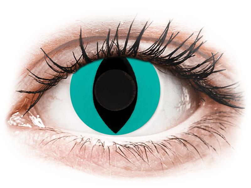 CRAZY LENS - Cat Eye Aqua - lentile zilnice fără dioptrie (2 lentile) - Lentile de contact colorate