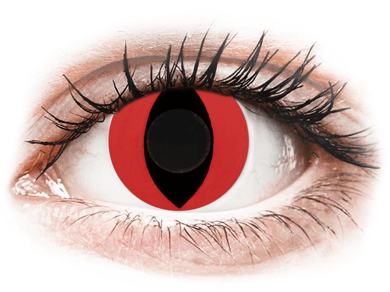 CRAZY LENS - Cat Eye Red - lentile zilnice fără dioptrie (2 lentile) - Lentile de contact colorate
