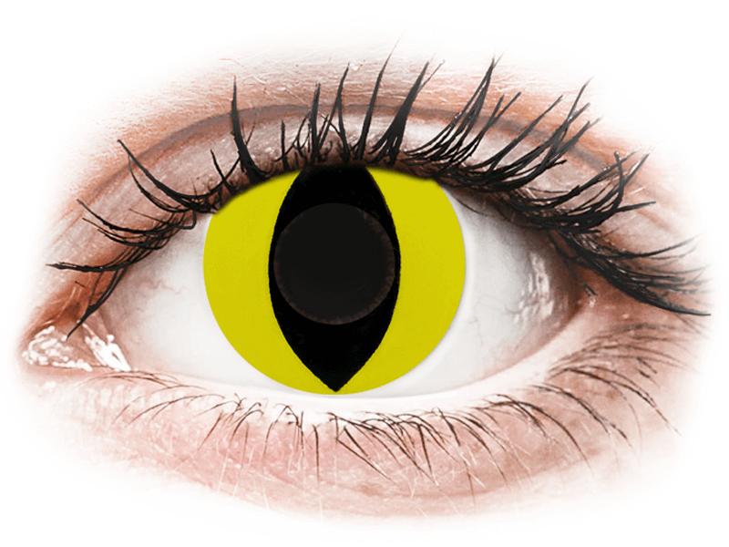 CRAZY LENS - Cat Eye Yellow - lentile zilnice fără dioptrie (2 lentile) - Lentile de contact colorate