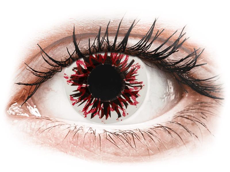 CRAZY LENS - Harlequin Black - lentile zilnice cu dioptrie (2 lentile) - Lentile de contact colorate
