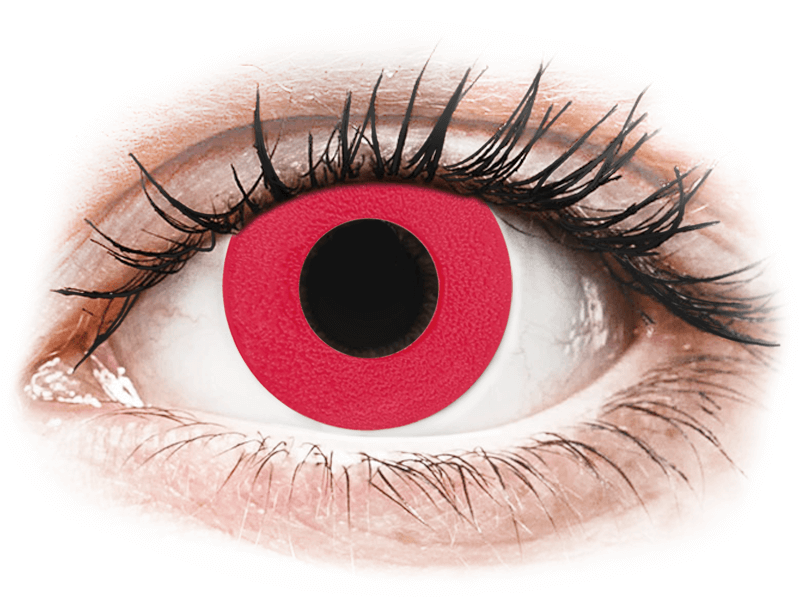CRAZY LENS - Solid Red - lentile zilnice fără dioptrie (2 lentile) - Lentile de contact colorate