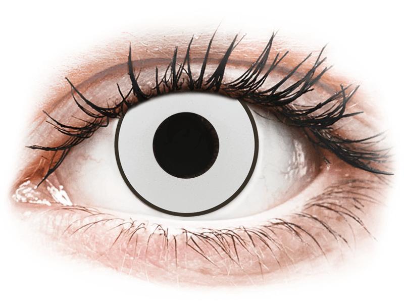 CRAZY LENS - White Black - lentile zilnice cu dioptrie (2 lentile) - Lentile de contact colorate