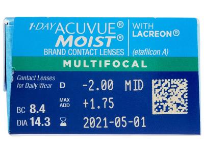 1 Day Acuvue Moist Multifocal (30 lentile) - Parametrii lentilei