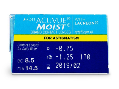 1 Day Acuvue Moist for Astigmatism (30lentile) - Parametrii lentilei